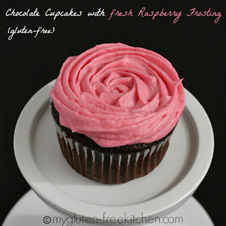 Chocolate Cupcakes with Fresh Raspberry Frosting {Gluten-free}