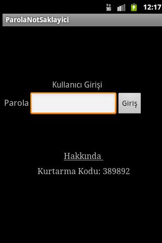 Parola Not Saklayıcı - screenshot