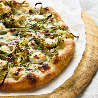 Shaved Asparagus Pizza with Goat Cheese and Ricotta Recipe