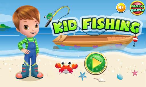 兒童釣魚遊戲的女孩