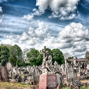 St Patrick's Cemetery by Laura Prieto - City,  Street & Park  Cemeteries ( clouds, london, catholic cemetery, leyton, funerary art, gravestone, graveyards,  )