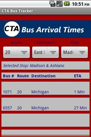 CTA Bus Tracker - screenshot