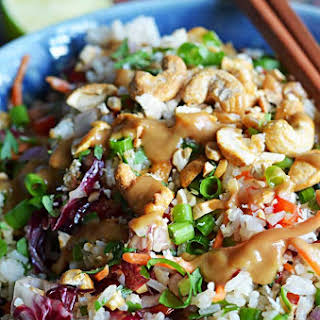 Thai Cashew Coconut Rice with Ginger Peanut Sauce.