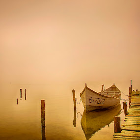 Boat by Ева Йорданова - Landscapes Waterscapes ( fog, pier, fishing, morning, boat,  )