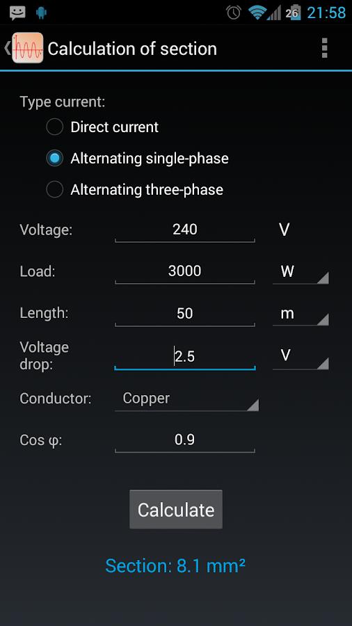 Electrical calculations - screenshot