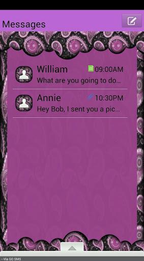 GO SMS THEME PurplePaisley4U