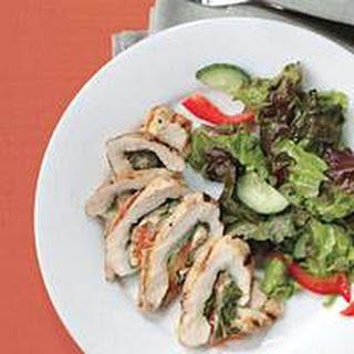 Caprese-Style Stuffed Chicken Rolls with Greens.