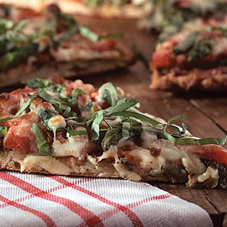 Pizza with Tomatoes, Asparagus, and Basil.