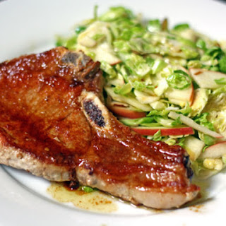 Pork Chops with Shaved Brussels Sprouts and Apple Salad