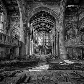 City Methodist Pulpit View by Ron Meyers - Black & White Buildings & Architecture