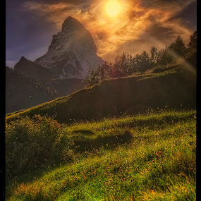 under Matterhorn by Petr Klingr - Landscapes Mountains & Hills ( hdr     matterhorn     swiss     sunset     mountain,  )