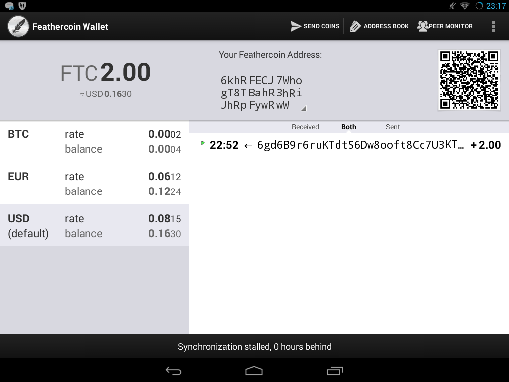 Feathercoin Wallet 2- screenshot