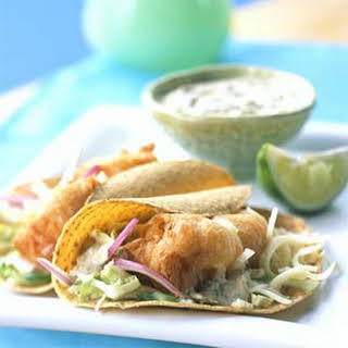 Beer-battered Fish Tacos with Baja Sauce.