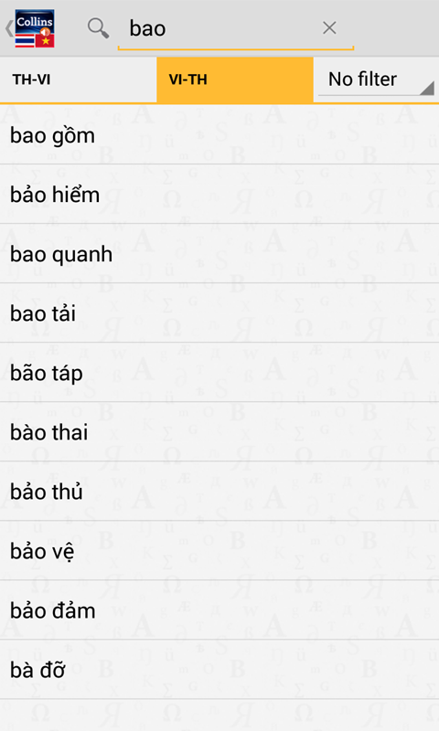 Thai<>Vietnamese Dictionary TR- screenshot