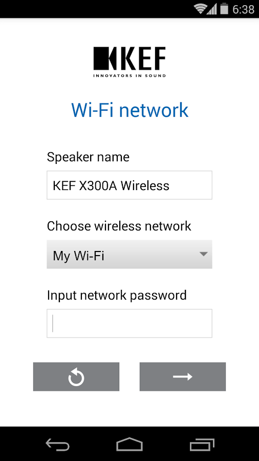 KEF Wireless Setup- screenshot