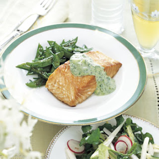Roasted Salmon with Cucumber Sour Cream.