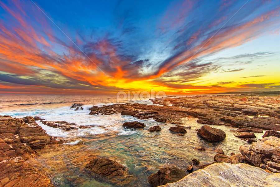 Phoenix flight by Clive Wright - Landscapes Sunsets & Sunrises ( landscape #rocks #sea #seascape #sunset #water,  )