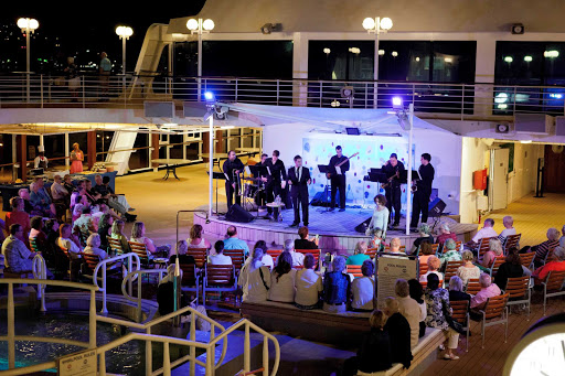 Azamara-Ship-Buble-Night - Guests enjoy the tribute to Canadian big band vocalist Michael Buble during an Azamara sailing.