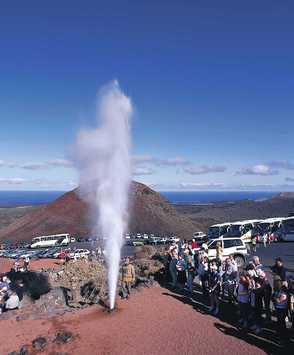 Parque-Nacional-de-Timanfaya-Canary-Islands - A geyser shoots off at Parque Nacional de Timanfaya in Tinajo  on the island of Lanzarote in Las Palmas province in Spain's Canary Islands.
