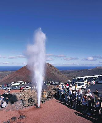 A geyser shoots off at Parque Nacional de Timanfaya in Tinajo on the island of Lanzarote in Las Palmas province.