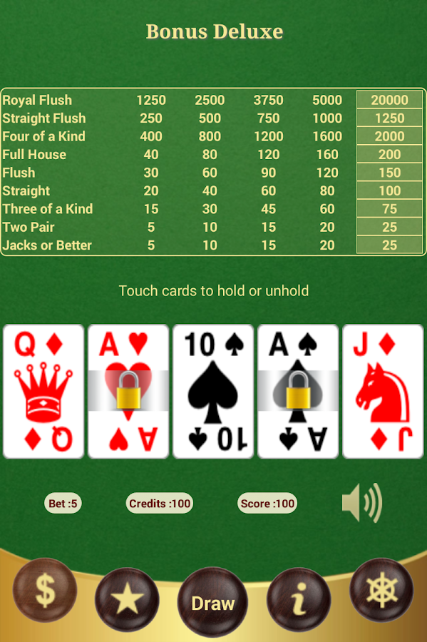 bonus poker deluxe video poker