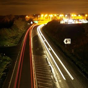 Light trails long exposure by Steve Evans - Transportation Roads (  )