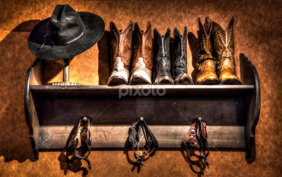 Cowboy Closet by Michelle Edwards - Artistic Objects Clothing & Accessories ( cowboy, cowboy hat, spurs, western, shelf, boots, hat )