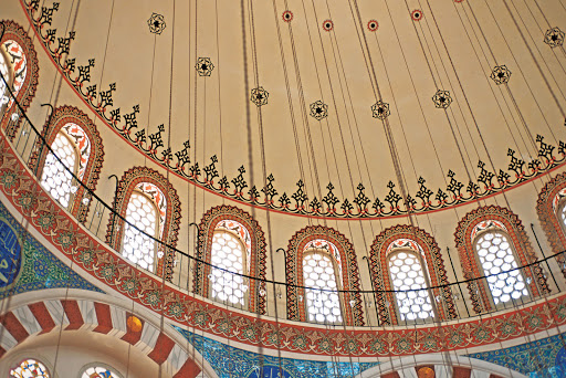 Blue-Mosque-interior-Istanbul - The cupola of the Blue Mosque in Istanbul, Turkey, built from 1609 to 1616. See it as part of a cruise aboard Tere Moana.