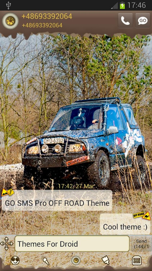 GO SMS Pro OFF ROAD Theme - screenshot
