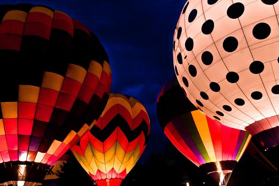 ballon glow by Nathan Pratt - Transportation Other ( hot air balloon, colorful, night, glowing, balloon )