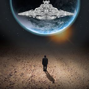 Alone?? by Jose Rabina - Digital Art Abstract ( planet, art, earth, space, digital, man, composite )
