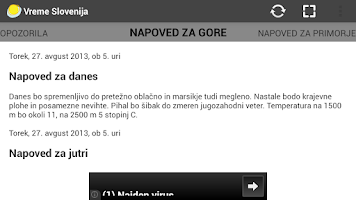 Screenshot of Vreme Slovenija
