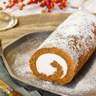 Pumpkin Swiss Cake Roll with Hazelnut Buttercream.