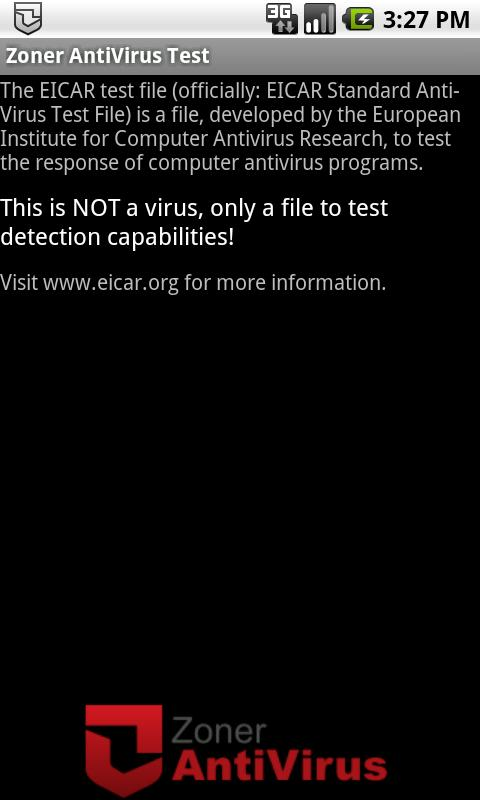 Zoner AntiVirus Test- screenshot