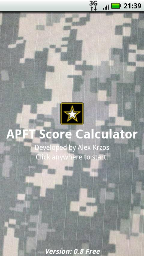 APFT Calculator w/ Score Log- screenshot