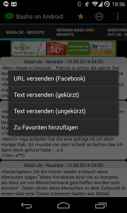 Bashs on Android - screenshot