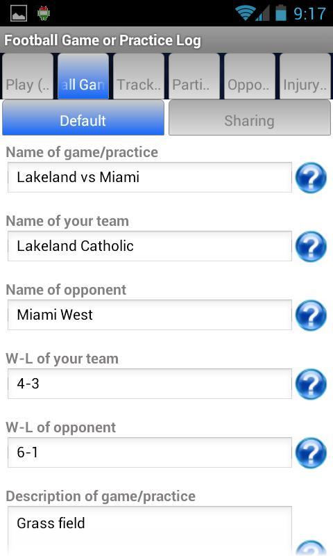 football game or practice log screenshot