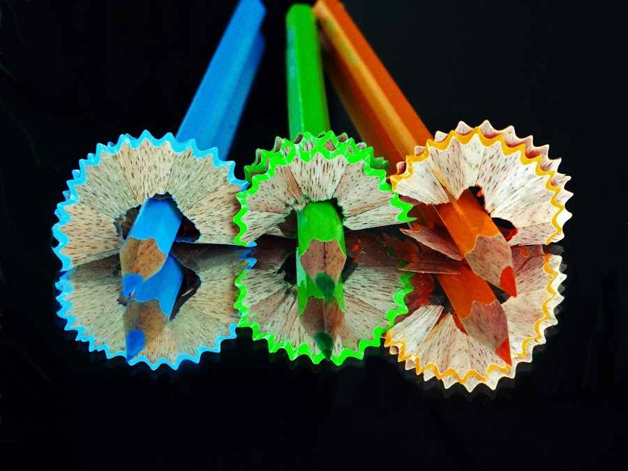 3's by Asif Bora - Artistic Objects Education Objects ( , blue, orange. color, pencil, object )