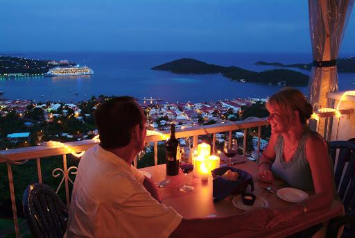 dine-bay-twilight-st-thomas-US-Virgin-Islands - Romance is calling: Dine al fresco overlooking the St. Thomas harbor at twilight.