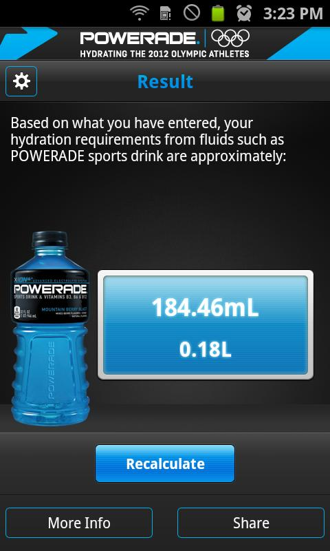 Powerade Hydration Coach - screenshot