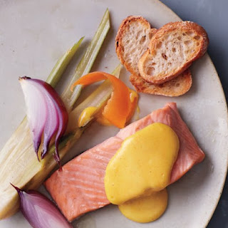 Poached Salmon with Grapefruit Olive Oil Hollandaise Sauce.