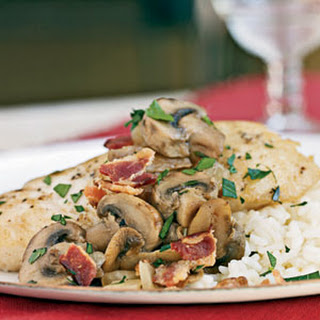 Braised Halibut with Bacon and Mushrooms.