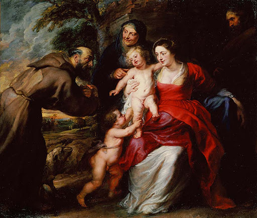"Holy-Family-Rubens-Met - ""Holy Family"" (c. 1630s), oil on panel by Flemish painter Peter Paul Rubens, depicts the holy family with Saints Francis and Anne and Saint John the Baptist as a toddler. See it at the Metropolitan Museum of Art in New York."