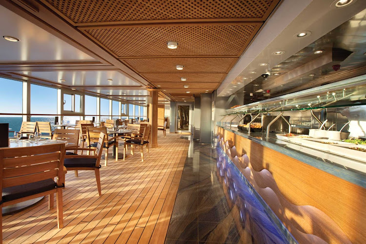 Take a break from lounging in the sun and enjoy an informal meal in the Waves Grill's dining room aboard  Oceania's Riviera.