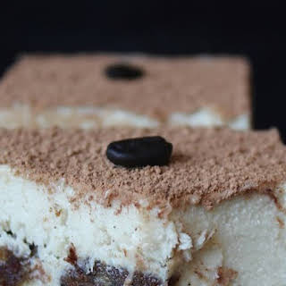 Raw Vegan Tiramisu with Vanilla Cream and Coffee Ladyfingers.