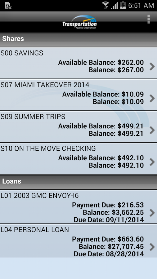 Transportation FCU Mobile- screenshot
