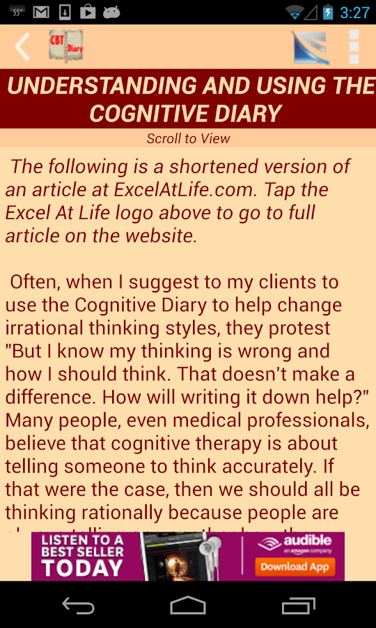 Cognitive Diary CBT Self-Help - screenshot