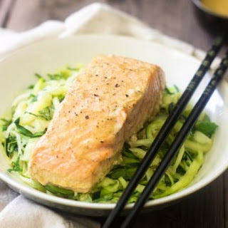 Zucchini Noodles with Coconut Curry Salmon.