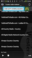 Screenshot of Top Country radio stations