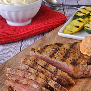 Grilled Peppered New York Strip Steak with Spiced Blue Cheese Recipe